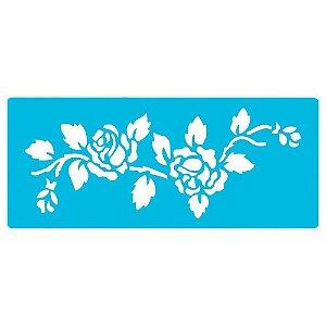 STENCIL ROSAS 1 FLORAL 330X140MM ACRILEX 30000-1181