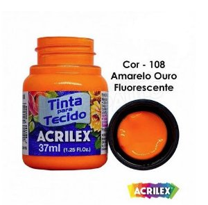 TINTA TECIDO 37ML AMARELO OURO FLUORESCENTE ACRILEX 108
