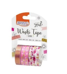 WASHI TAPE SHINE FLAMINGO C/ 3 BRW