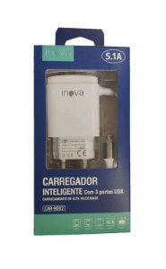 CARREGADOR V8 TURBO 3 USB 5.1+CABO INOVA CAR-9002