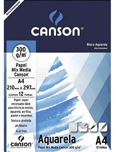 BLOCO AQUARELA A4 300G 12F CANSON