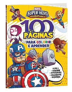 LIVRO 100 PAGINAS PARA COLORIR SUPER HERO BICHO ESPERTO
