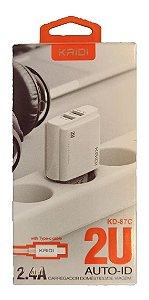 CARREGADOR TIPO C 2 USB 2.4+CABO KAIDI KD-87C