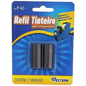 REFIL TINTEIRO PARA ETIQUETADORA PRETO 2UN WESTERN P-42
