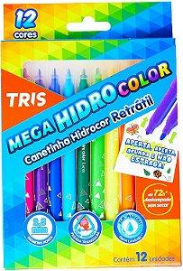 CANETINHA 12 CORES RETRATIL MEGA HIDROCOLOR TRIS