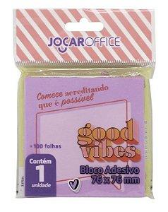 BLOCO ADESIVO GOOD VIBES LILAS 76MMX76MM 100F JOCAR OFFICE