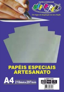 PAPEL LAMICOTE PRATA A4 250G 10F PCT OFF PAPER