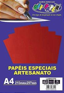 PAPEL LAMICOTE VERMELHO A4 250G 10F PCT OFF PAPER