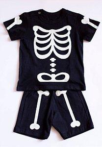 Pijama Infantil Manga Curta Esqueleto