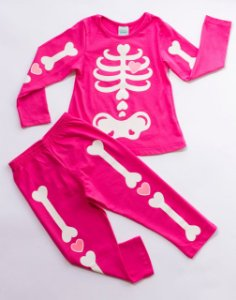 Pijama Infantil Manga Longa Esqueleto