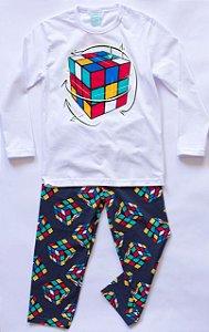 Pijama Infantil Manga Longa Cubo