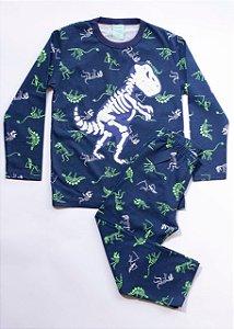 Pijama Infantil Manga Longa Dinossauro