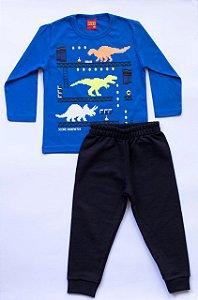 Pijama Infantil Manga Longa Dinossauros