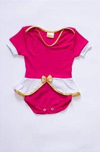 Body Bebê Fantasia Princesa Rosa