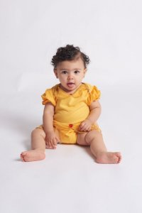 Body Bebê Princesa Amarelo