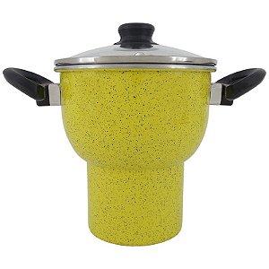 Cuscuzeira de Alumínio 2,5 Litros com Tampa de Vidro - Amarelo