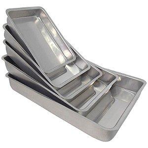 Conjunto 5 Assadeiras de Alumínio Retangular (Fôrma) - Polido