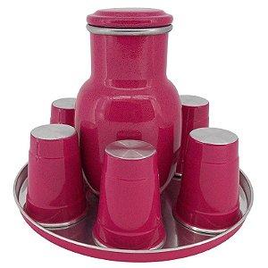 Moringa de Água 2 Litros com 6 Copos de 300 ml - Rosa (Jarro de Água)