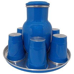 Moringa de Água 2 Litros com 6 Copos de 300 ml - Azul (Jarro de Água)