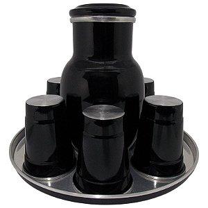 Moringa de Água 2 Litros com 6 Copos de 300 ml - Preto (Jarro de Água)