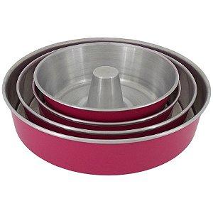 Conjunto 3 Assadeiras de Alumínio Redondo com Fôrma de Pudim - Rosa
