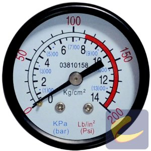 """Manômetro 200Psi 0/120Psi 50Mm 1/4""""Npt Horizontal Mupac - Chiaperini"""