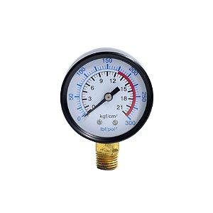"Manômetro 300 Lbs 175/300 50 mm. 1/4"" Npt Vertical - Compressores Alta Pressão - Chiaperini"
