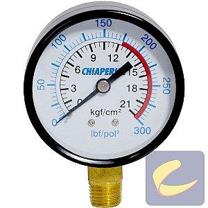 Manômetro 300 Lbs 175/300 60 Mm. 1/4 Npt Vertical Compressores De Ar Alta Pressão Chiaperini