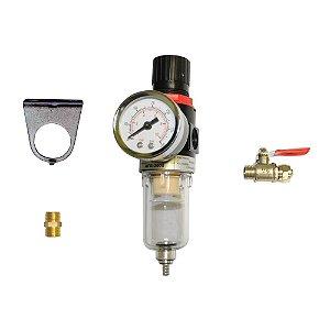 """Filtro Regulador de Pressão 135 PSI 1/4""""  - Compressores Odonto - Chiaperini"""