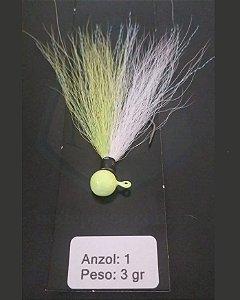 Streamer Jig Finesse Chartreuse e Branco Anzol 1/0 e Chumbo 03 gramas - Juva Pesca