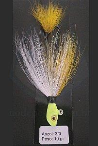 Streamer Jig Scorpion Amarelo e Branco Anzol 3/0 e Chumbo 10 gramas - Juva Pesca