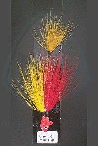 Streamer Jig Scorpion Vermelho e Amarelo Anzol 3/0 e Chumbo 10 gramas - Juva Pesca