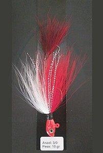 Streamer Jig Scorpion Vermelho e Branco Anzol 3/0 e Chumbo 10 gramas - Juva Pesca