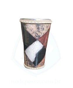 Cuia copo de Tereré de alumínio revestida com plástico imitando retalhos de couro - 150 ML