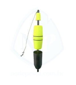 Boia de Arremesso Torpedo porta Ceva 80 gramas Amarelo Copo Preto - Apoio Pesca