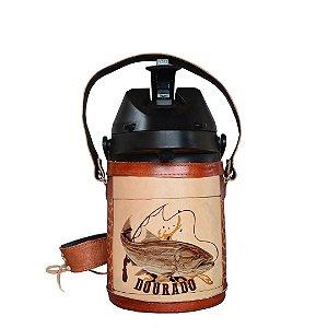 Garrafa Térmica inox semi revestida em couro Dourado 2,5 litros - Toro Rojo