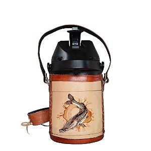 Garrafa Térmica inox semi revestida em couro Pintado 2,5 litros - Toro Rojo