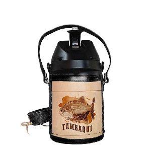 Garrafa Térmica inox semi revestida em couro Tambaqui 2,5 litros - Toro Rojo