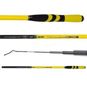 Vara de Pesca Telescópica de Mão Amarelo e Preto 3,00m 100% Carbono