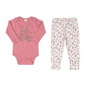 Conjunto Body longo e calça - Floral - UP BABY