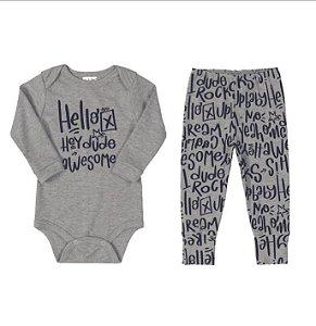 Conjunto Body longo e calça - hello - UP BABY