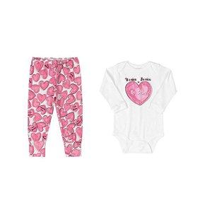 Conjunto Body longo e calça - Coração - UP BABY