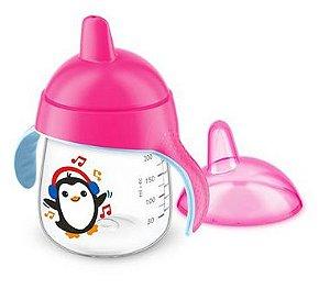 Copo Anti Vazamento Pinguim 260ml - Rosa - Avent Philips