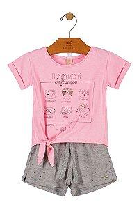 Conjunto Menina Meia Malha e Shorts Moleton - Rosa - Up Baby