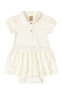 Vestido Body Polo - Manga curta em Cotton - Off White - UP Baby
