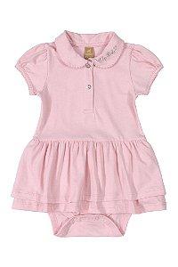 Vestido Body Polo - Manga curta em Cotton - Rosa - UP Baby