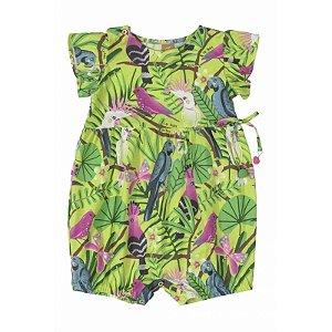 Macaquinho manga curta em meia malha - Tropical verde  - UP BABY