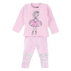 Pijama Blusa Estampa Bailarina + Calça Com Saia Em Tule - Color Mini