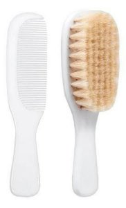 Escova e pente - Cerdas Naturais - Branco - Buba
