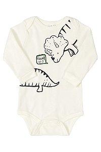 Body Manga longa em suedine - Dinossauro - Up Baby